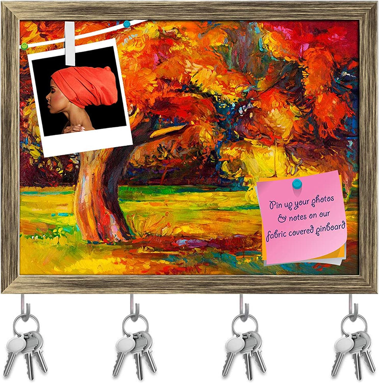 Artzfolio Artwork of Beautiful Autumn Tree D3 Key Holder Hooks   Notice Pin Board   Antique golden Frame 15.7 X 12Inch