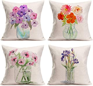 Smilyard Rustic Outdoor Floral Throw Pillow Cover 18x18 Inch Pack of 4 Spring Flowers Decorative Pillows Cases Colorful Pl...