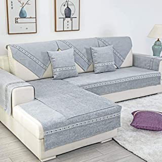 Deep Dream Sectional Sofa Covers, Chenille Sofa Slipcover Furniture Protector Anti-Slip Couch Covers for Dogs Cats Kids 35 x 82 Inch - Gray (Sold by Piece/Not All Set)