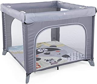 Chicco Open Box Parque de juegos infantil bebé con alfombra extraíble y cremallera, 0 4 años, diseño mapache color gris (Honey Bear)