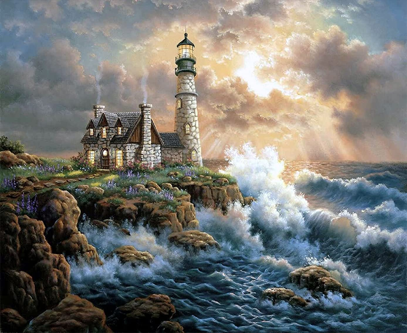 Orsit 5D Diamond Painting DIY by Painted Kit Craft Home Wall Decoration -Lighthouse(14x18in/35x45CM)