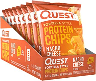 Quest Nutrition Nacho Cheese Flavour Tortilla Style Protein Chips, Gluten Free, Potato Free, Nacho Cheese, Pack of 8