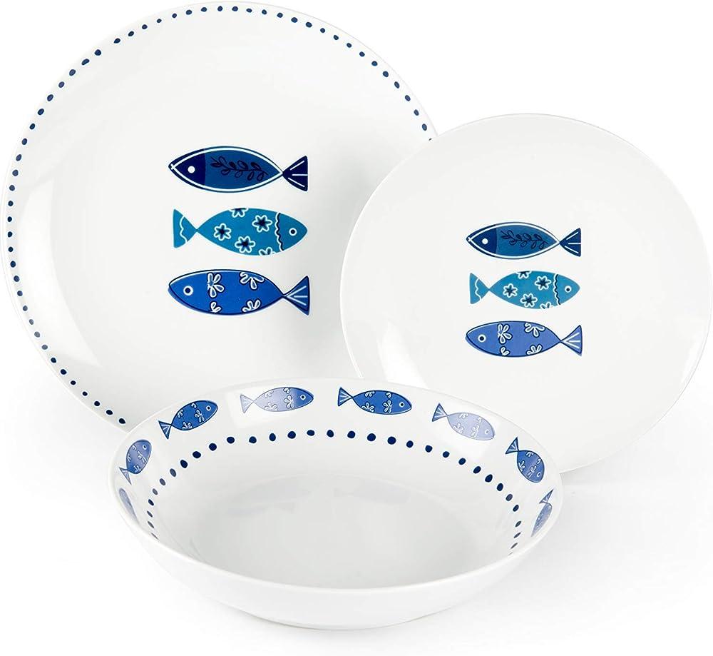 Excelsa ocean, servizio di piatti da 18 pezzi, in porcellana 50249
