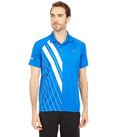 Lacoste Short Sleeve Stripe Print Polo (Nova Blue/White) Men