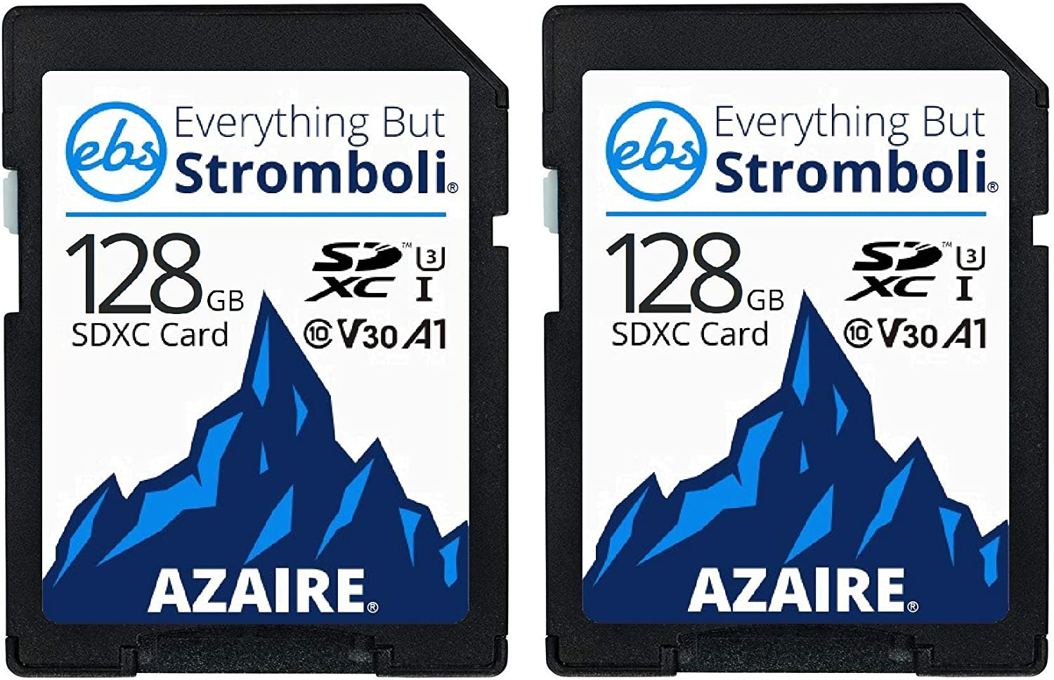 Everything But Stromboli 128GB SD Card (2 Pack) Speed Class 10 UHS-1 U3 V30 128G SDXC Memory Cards Multipack for Compatible Camera, Laptop, Video Cam