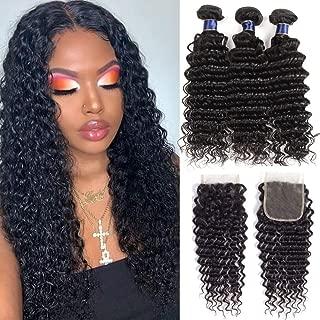 Healthair Brazilian Deep Wave Bundles With Closure Upgrade 8A+ Human Hair Bundles With Closure 100% Unprocessed Virgin Brazilian Curly Hair Bundles With Closure (12 14 16+10, Bundles with Closure)