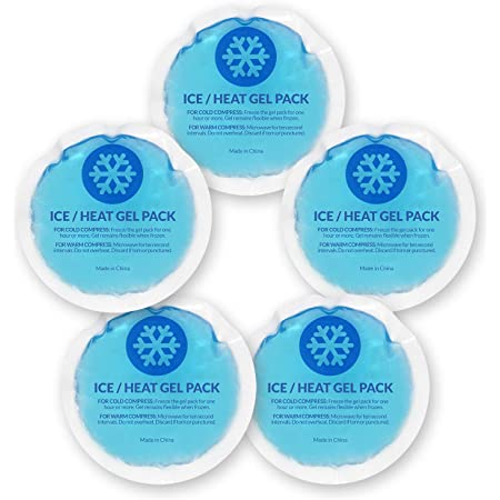 EverOne Round Reusable Gel Ice Pack with Cloth Backing for Hot & Cold Therapeutic Use, First Aid, Injuries, Breastfeeding, 5 Count