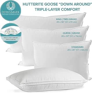 Sleep Solutions Hutterite White Goose Down Around Pillow, Standard