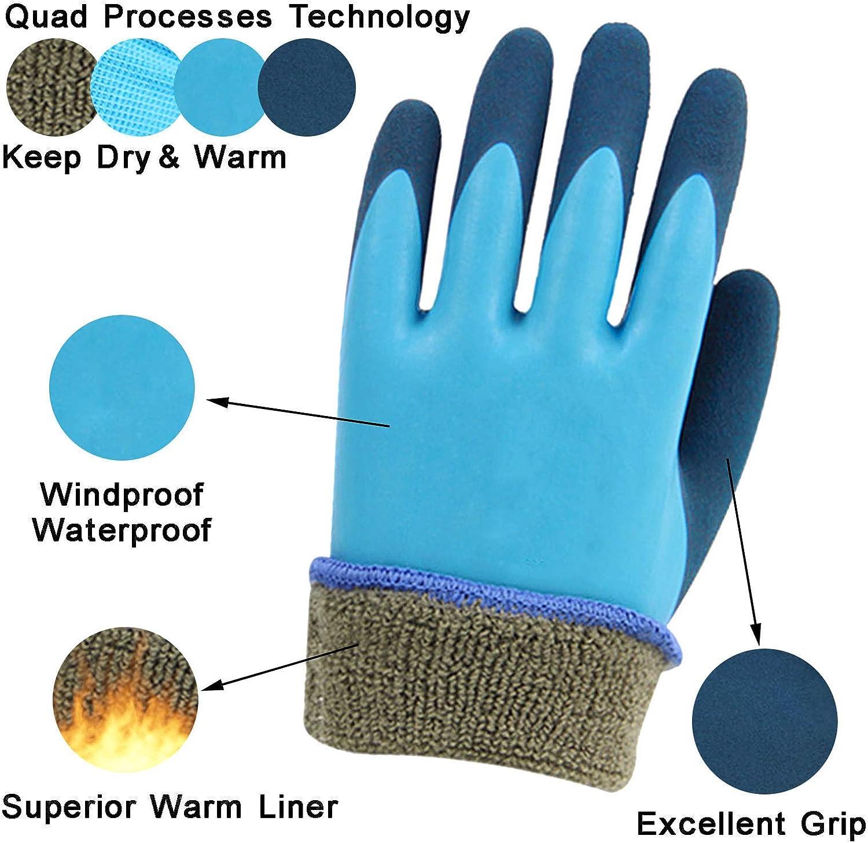 Freezer Winter Work Gloves, Waterproof Winter Gloves, Latex Rubber Seamless Knit Shell Thermal Liner Glove