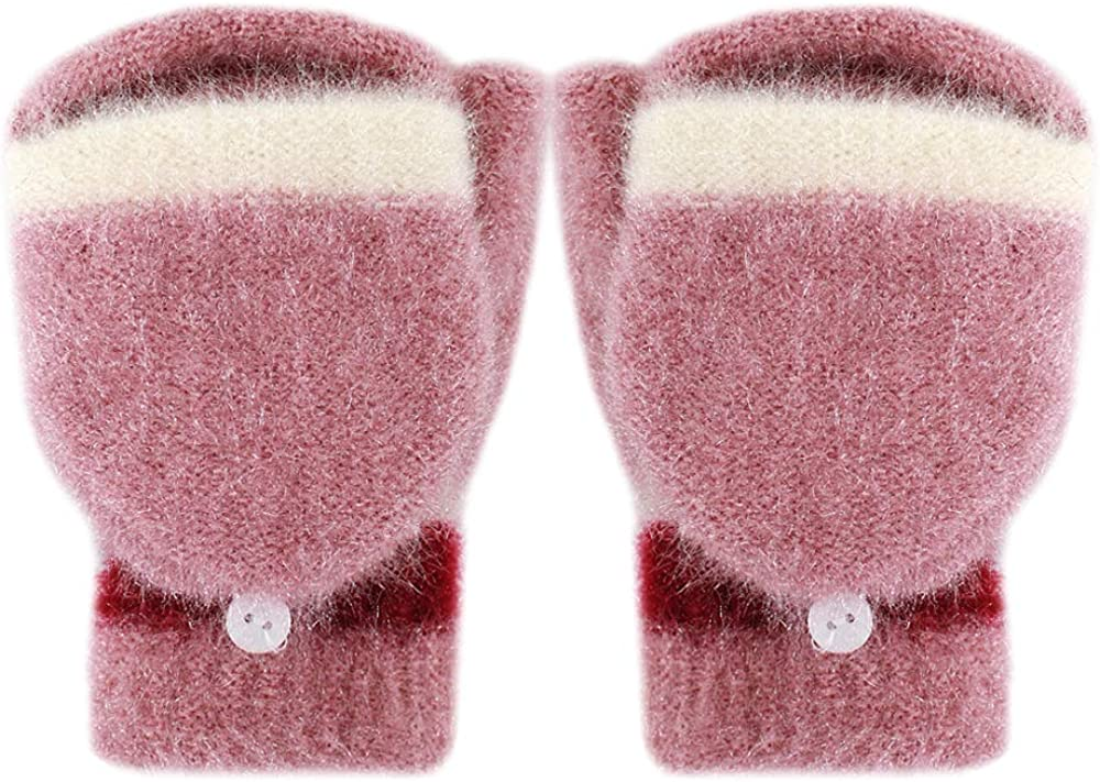 Monique Women Contrast Color Winter Warm Knit Fingerless Gloves with Mitten Cover Mittens