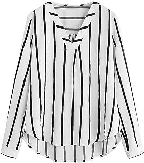 Floerns Women's V Neck Long Sleeve Striped Chiffon Blouse Top