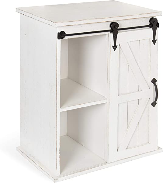 Kate And Laurel Cates Wooden Freestanding Storage Cabinet Side Accent Table With Sliding Barn Door Antique White Finish