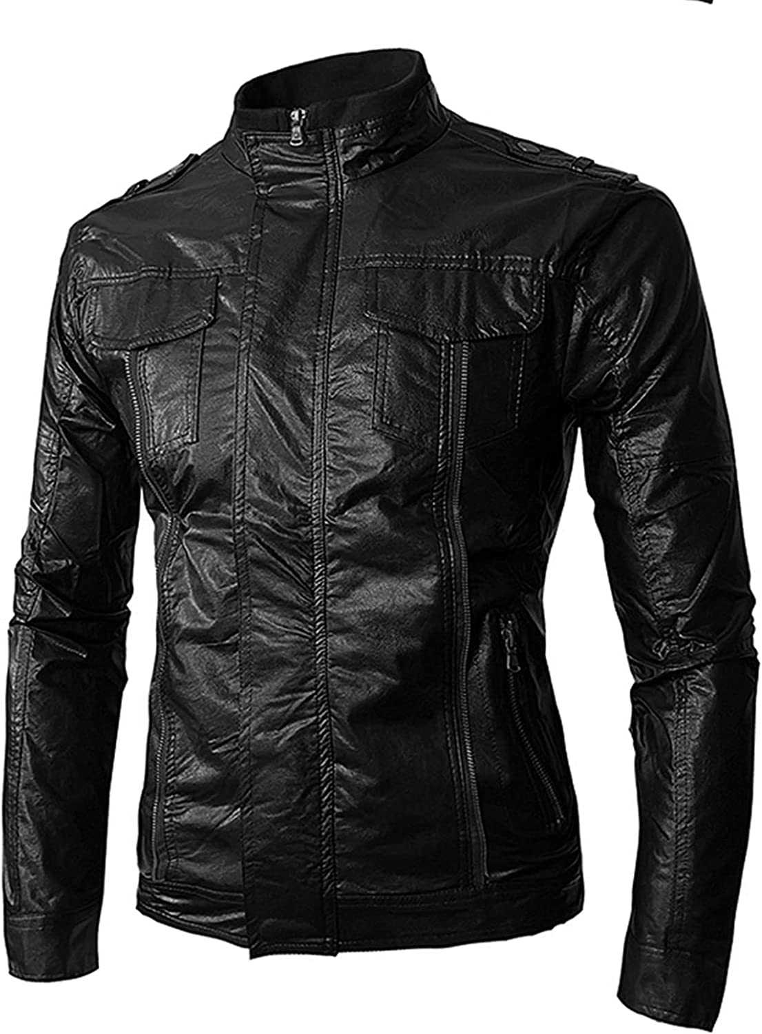Men Leather Jackets,Motorcycle Stand Collar Coats Jacket,Casual Slim