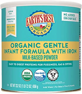 Earths Best Organic Gentle Infant Powder Formula with Iron, Easy To Digest Proteins, 23.2