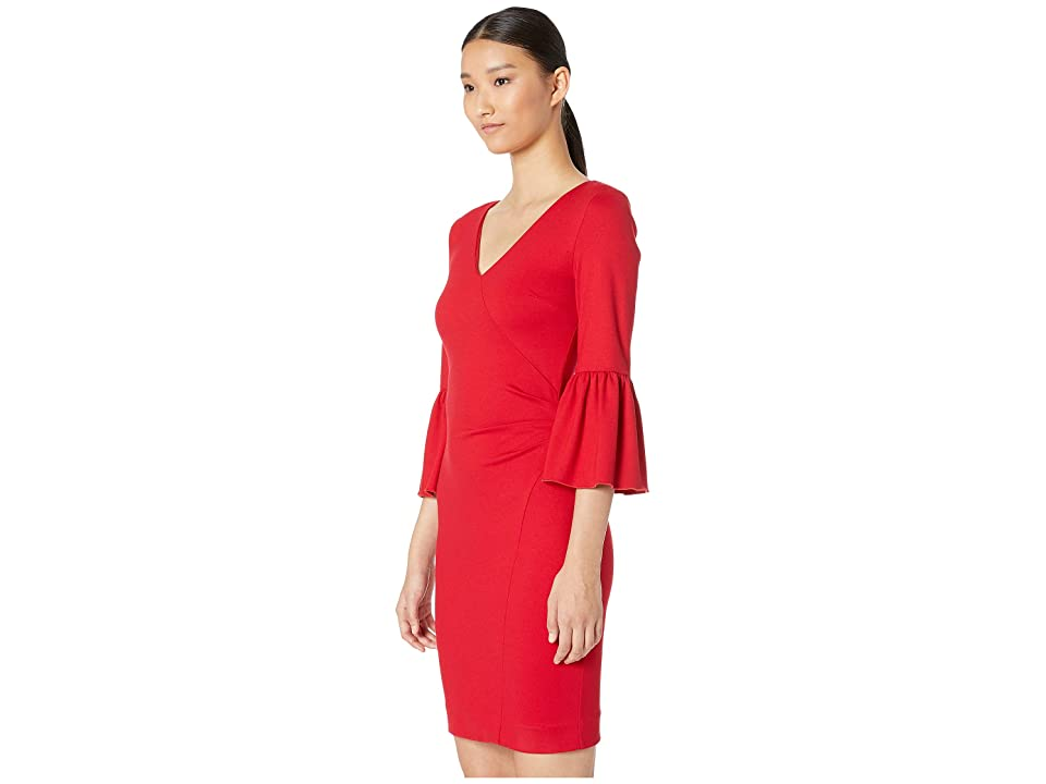Nicole Miller Ponte Bell Sleeve Dress (Lipstick Red) Women's Dress