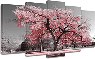 Visual Art Decor Large 5 Pieces Black and White Canvas Wall Art Pink Tree Landscape Picture Prints Framed and Stretched Painting Wall Decoration for Modern Living Room Office (5 Pieces)
