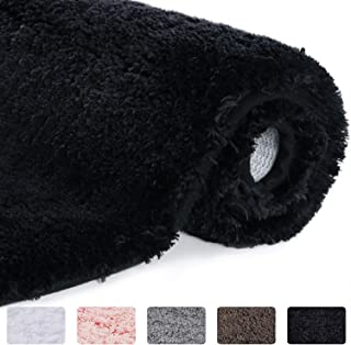 Lifewit Bathroom Rug Bath Mat Non-Slip Rubber Microfiber Soft Water Absorbent Thick Shaggy Floor Mats, Machine Washable, Black,32