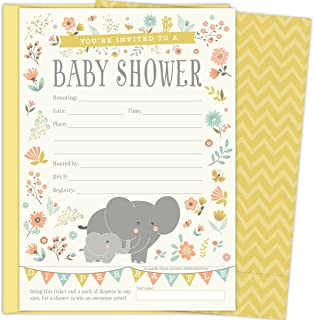 2 in 1 Elephant Baby Shower Invitations and Tear-off Diaper Raffle Tickets. Gender Neutral Design with Elephants, Banners and Florals. 25 5x7 Fill in the Blank Invites with Yellow A7 Envelopes.