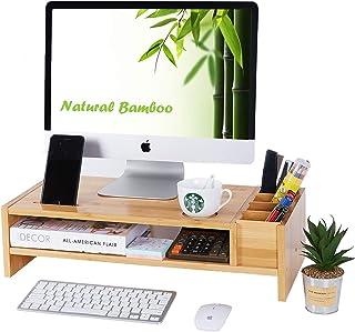حامل شاشة من الخيزران بطبقتين | منظمات وإكسسوارات مكتبية خشبية | حامل شاشة كمبيوتر محمول مع ملحقات تخزين قابلة للتعديل