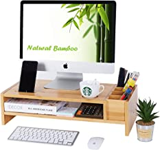 2-Tier Bamboo Monitor Stand | Wood Desk Organizers and Accessories | Laptop Computer Monitor Riser with Adjustable Storage...