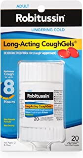 Robitussin Adult Long-Acting CoughGels (20 Count), 8-Hour Non-Drowsy Cough Suppressant, Liqui-Gels Capsules