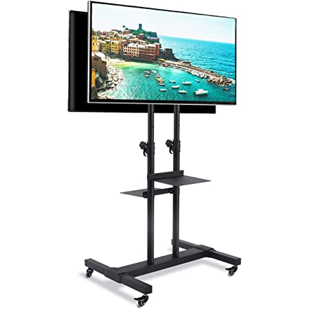Amazon Com Rfiver Dual Monitors Mobile Tv Cart With Tilt Mount For 37 80inch Flat Screen Curved Tvs 2 Shelf Rolling Tv Stand With Locking Wheels Adjustable Floor Tv Trolley For Trade Show Extra Tall Electronics