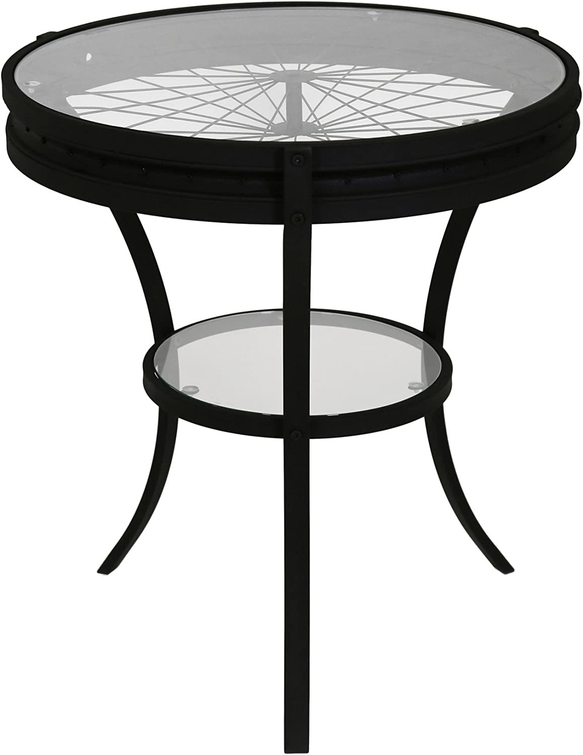 Monarch Specialties I 2140 Hammered Black Accent Table with Tempered Glass, 20