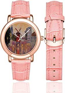 Cityscape Rose Gold Leather Strap Watch,Painting of Moulin Rouge in Paris City Centre of Love Vintage France Artprint Home for Woman,Case Diameter:1.4