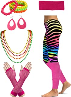Women's 80's Party Neon Running Workout Costume Set