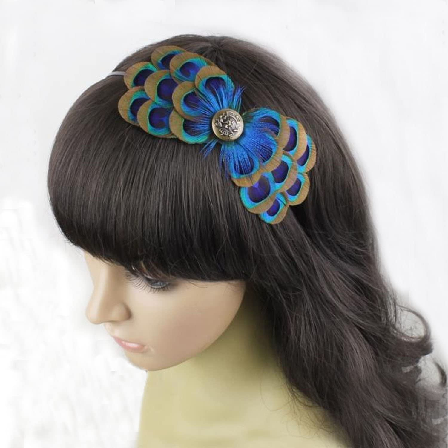Natural Peacock Free shipping Feather Ranking TOP3 Fascinator Wedding Hair Clip