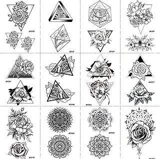 12 Pieces/Lot Black Sexy Triangle Rose Flower Women Temporary Tattoos Stickers Body Arm Art Drawings Summer Style Custom Fake Waterproof Tatoos Flora 10x6cm