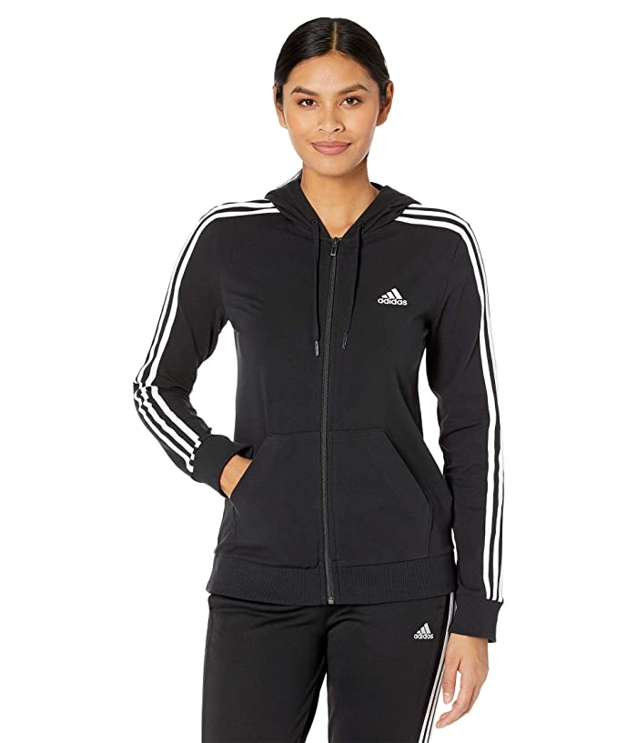 adidas 3-Stripes Single Jersey Full Zip Hoodie | Zappos.com