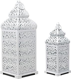 Vela Lanterns Temple Moroccan Style Candle Lanterns, White, Set of 2