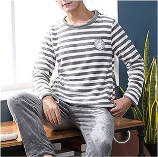 TTCI-RR Pijamas Pijamas Hombre Cálido Ropa de Dormir Hombre de Franela Gruesa Pijama Hombre Manga Larga Casual Pijama Hombre Invierno Ropa de Dormir XXXL Suave (Color: E, Tamaño: 3X-grande)