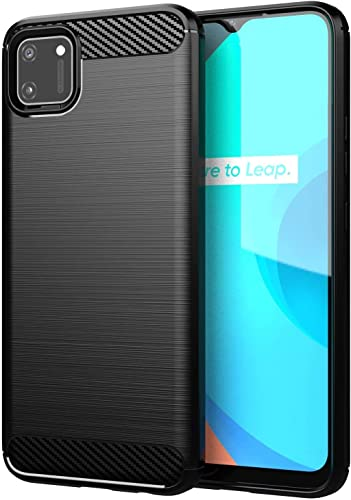 Shining Zon Silicon Flexible Shockproof Armor Carbon Fiber Back Cover Case For Realme C11 2020 Black