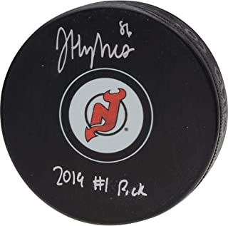 Jack Hughes New Jersey Devils Autographed Hockey Puck with