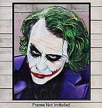 Joker Wall Art, Home Decor - Graffiti Poster, Heath Ledger Art Print - Unique Batman Urban Street Art Room Decorations for Men, Boys - Gift for Superheroes, Marvel Comic Book Fans, 8x10 Photo Unframed