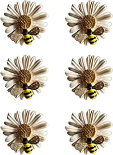 ZILucky Set of 6 Daisy Flower with Bee Napkin Rings Wedding Napkin Holder Wedding Party and Daily Use Dinner Table Décor Accessories (Beige)