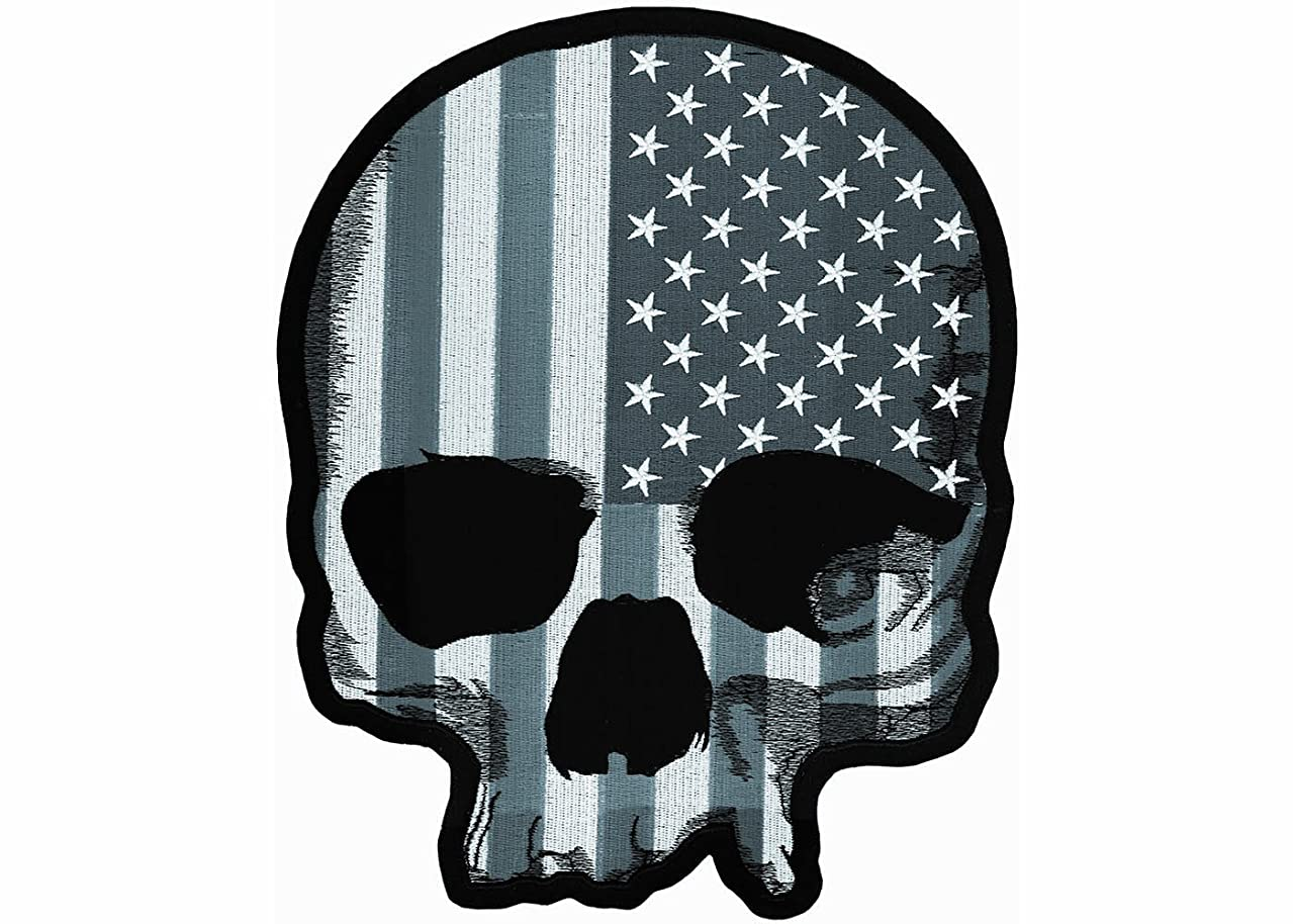 Lethal Threat (LT30183 USA Skull Grey LG Embroidered Patch
