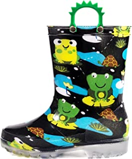 Sponsored Ad - OUTEE Adorable Printed Lightweight Waterproof Rain Boots for Toddler and Kids