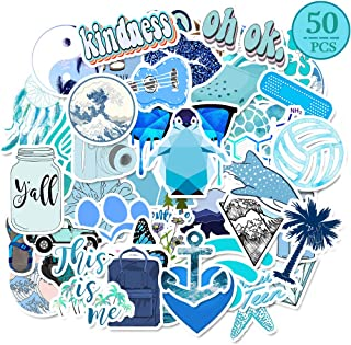 MSOLE 50PCS Blue Cute Vsco Waterproof Stickers for Water Bottles Laptop HydroFlasks Aesthetic Trendy Decals for Mac Computer Phone Guitar for Kids Teens Girls