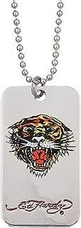 Ed Hardy Tiger Head Dog Tag Necklace