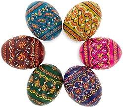BestPysanky Set of 6 Miniature Ukrainian Wooden Easter Eggs Pysanky 1.5 Inches
