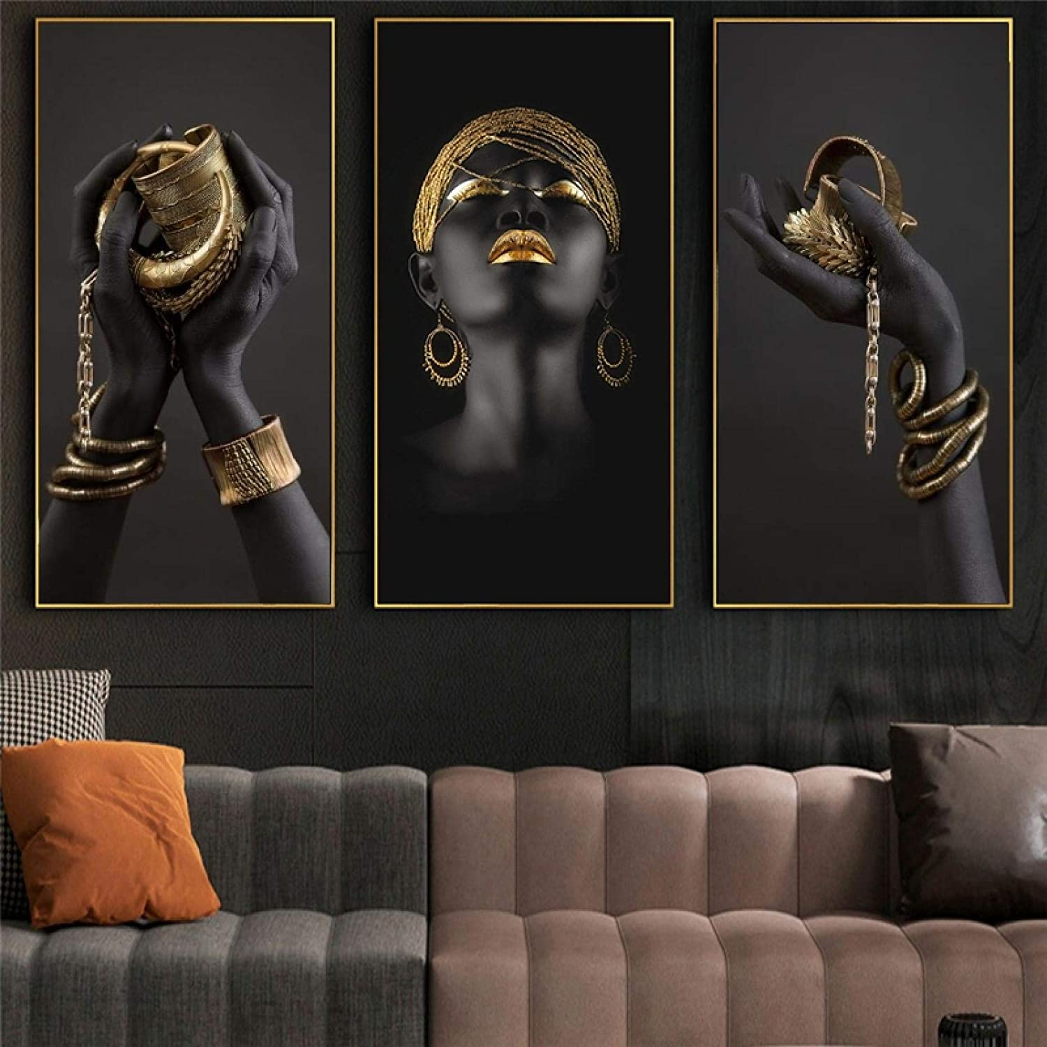 African Black Woman with Golden Canvas Painting Jewelry Year-end gift Hands Challenge the lowest price of Japan on