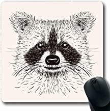Ahawoso Mousepad Oblong 7.9x9.8 Gray Racoon Vintage Fur Sketch Raccoon Face Abstract Animals Wildlife Hand Bear Head Geometric Black Non-Slip Rubber Mouse Pad Office Computer Laptop Game Mat