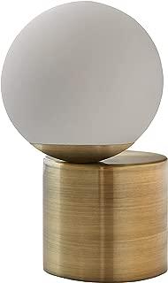 Rivet Modern Glass Globe Living Room Table Desk Lamp With LED Light Bulb - 7 x 10 Inches, Brass Finish