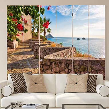 APED DECOR Wood Screen Room Divider Panoramic View of The Mazatlan Scenic sea Shire line Folding Screen Canvas Privacy Partit