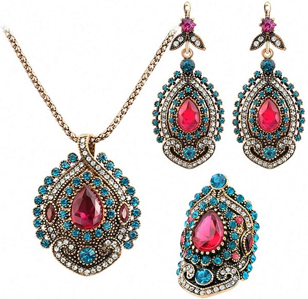 3Pcs Vintage Jewelry Sets for Women Antique Gold Color Pink Crystal Wedding Party Earrings Necklace Ring Turkish Jewelry