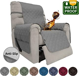 Easy-Going Sofa Slipcover Recliner Cover Waterproof Couch Cover Furniture Protector Sofa Cover Pets Covers Whole Fabric No Stitching Non-Slip Fabric Pets Kids Children Dog Cat (Recliner, Gray)
