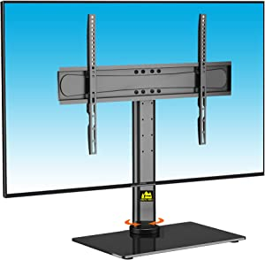 FORGINGMOUNT Swivel TV Stand/Base-Table Top Universal TV Stand for 32-65 inch LCD LED TVs-Height Adjustable TV Mount Stand with Tempered Glass Base & Wire Management,VESA 600x400mm Holds up to 99lbs